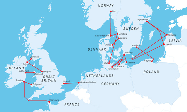 Kart over rutenett Europa.