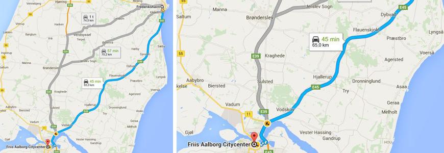 Ankomst med bil til Aalborg.