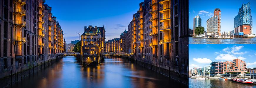 Bygninger og elv i Hamburg