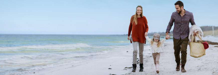 Familie på stranden i Skagen